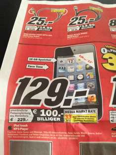[Lokal Ulm Media Markt] Ipod Touch 16 GB 4G