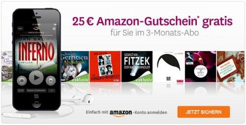 Audible 3 Monate mit 25€ Amazon-Gutschein