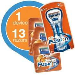 13 Gillette Fusion Klingen + Rasierer  / 3,15 Euro bzw. 2,80 Euro pro Klinge