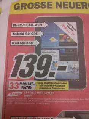 "(LOKAL) Samsung Galaxy Tab 2.0 7"" WIFI 8GB - 139 € Media Markt Heidelberg-Kirchheim"