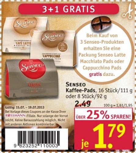 [Rossmann] Senseo Kaffe-Pads 1,79€ statt 2,49€ und 3 kaufen -> 1 gratis