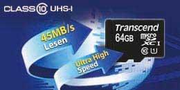 Transcend Premium Class 10 microSDXC 64GB Speicherkarte mit SD-Adapter für 43,30 € @Amazon