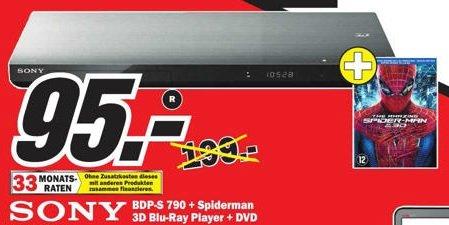 Sony BDP-S790 3D Blu-ray Player inkl. Spiderman 3D Blu-ray im Mediamarkt Paderborn für 95 Euro