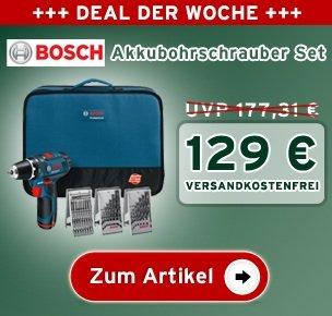 BOSCH Akkubohrschrauber GSR 10,8-2-LI-Set - 129 € + 0,00 Versand