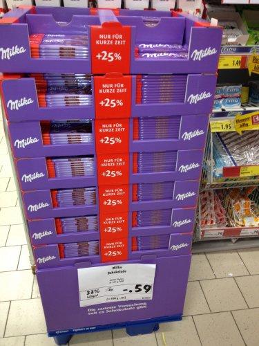 [Lokal - Duisburg-Walsum] Kaufland: Milka Schokolade verschiedene Sorten 125g für 0,59 = 100g für 0,472