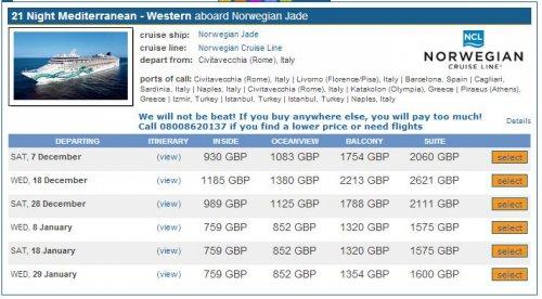 "21 Tage Kreuzfahrt ab Civitavecchia (Rom) ""Norwegian Jade"" ab p.P.790£/870€ (41€ Tag) ab 8./18./29. Januar 2014"