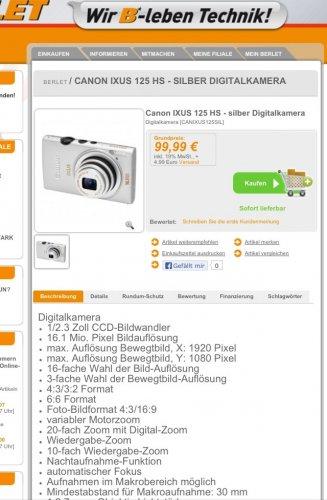 [Online] Digitalkamera Canon IXUS 125 HS Silber @Berlet.de u.v.m.
