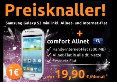 crash Tarife: o2 Allnet-Flat inkl. 500MB Internet für 19,90 Euro + Samsung S3 Mini ohne Zuzahlung