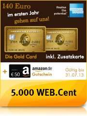 American Express® Gold Card 1 Jahr kostenlos + 50,- Euro Amazon-Gutschein + 5.000 WEB.Cent