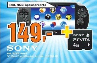 Sony PS Vita Wi-Fi + 4 GB PS Vita Memorycard im Saturn Celle für 149 Euro
