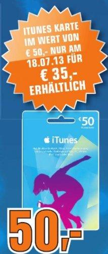 50 Euro iTunes am 18.07.2013 im Saturn Schweinfurt für 35 Euro