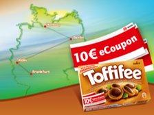 Bahn Mitfahrerfreifahrt und 10 Euro ecoupons MBW 49 Euro bei Kauf von Toffifee