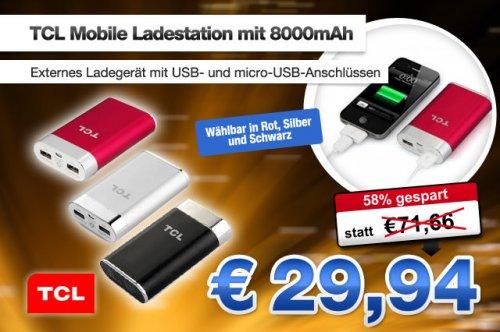 8000mAh Mobile Ladestation Ladegerät für Smartphones iPad iPod MP3/4 usw. für 29,94€ statt 71,66€