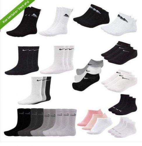 9 Paar Socken (Sport oder Sneaker) Adidas, Nike oder Puma für 19,99€ @ Ebay