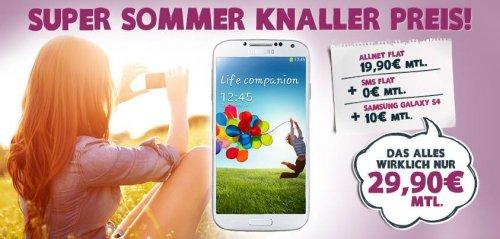 Yourfone: Allnetflat inkl. SMS Flat und Samsung Galaxy S4 für monatlich 29,90€