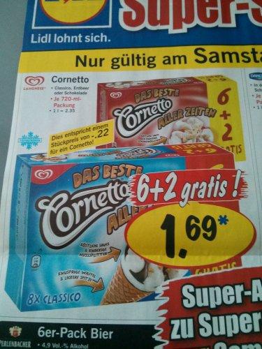 Nur am 27.07.2013 Cornetto 6+2 bei LIDL für 1,69€