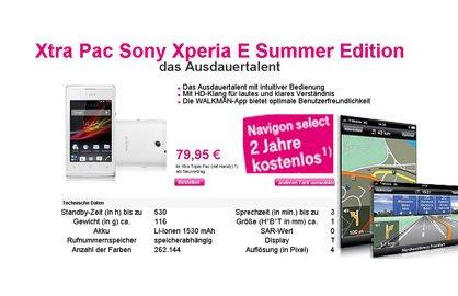 Xtra Pac Sony Xperia E Summer Edition + NAVIGON GPS statt €199,99 nur €79,95
