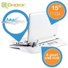 "Choiix Mini Air-Through Notebook Alu Feature Dock (max 15"", inkl 4 x USB, Ventilator) für 15,90€ @ IBood"