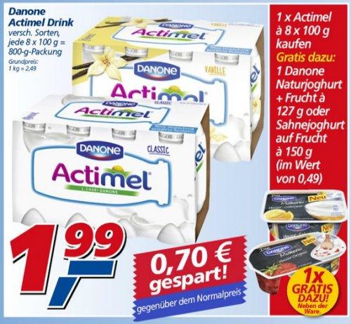Danone Actimel, verschiedene Sorten, REAL, 1,29€/8er und Zugabe