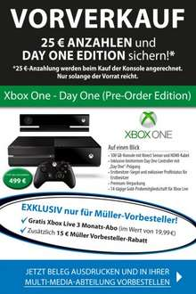 Preorder Xbox One DAYONE bei Müller