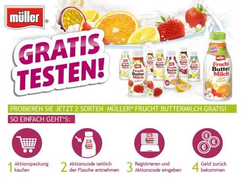 Müller Frucht Buttermilch gratis durch Geld zurück Aktion