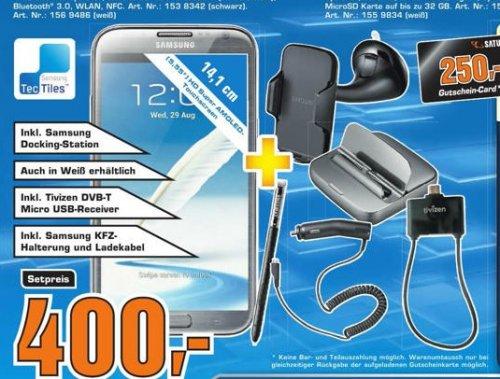Samsung Galaxy Note 2 + orig. Samsung Docking Station + Tivizen DVB-T MicroUSB Receiver + orig. Samsung  KFZ Halterung und KFZ Ladekabel im Saturn Freising für 400 Euro