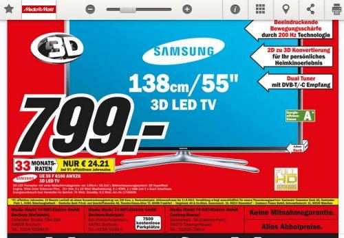 "[LOKAL BOCHUM Mediamarkt ] Samsung 55"" 3D LED-TV UE55F6100"
