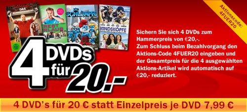 MediaMarkt (online) 4 DVDs für 20€