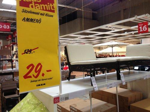 IKEA Gartenmöbel Sitzelement mit Kissen Ammerö statt 129€ bzw. 169€ ab