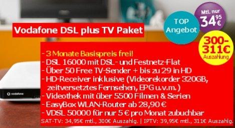 Vodafone DSL plus TV Paket + 311€ Auszahlung + 120€ Wechselbonus