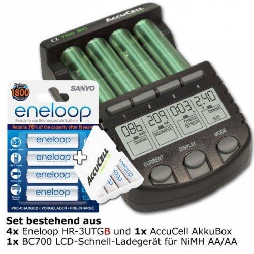 8 Eneloop AA HR-3UTGB + Technoline BC 700 + Akkuboxen für 40,24 € (auch PayPal)