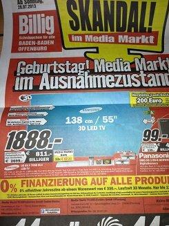 Samsung UE 55 F 7090 MediaMarkt Baden/Offenburg 1888€