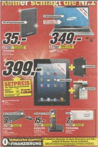 [Lokal - MM Bremen Waterfront] iPad 4 WiFi 16 GB schwarz inkl. Belkin Hülle + Folie