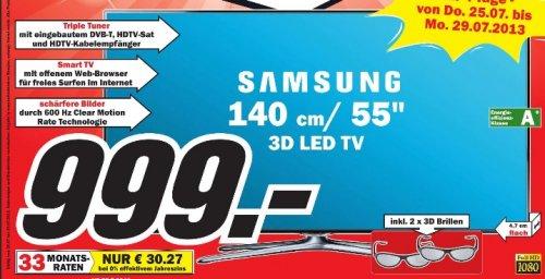 Samsung UE 55 F 6640 3d LED TV inkl. 2 3d Brillen im Mediamarkt Ludwigsburg für 999 Euro
