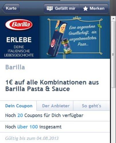 """Barilla Nudeln 69 Cent und  die  """"guten"""" Saucen 2,22 € bei REWE, Akzenta, Kaufpark -1 € Coupies"""