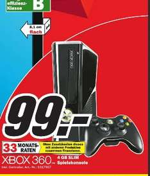 [ MM Paderborn]  Xbox 360 Konsole (4GB) inkl.Wireless Controller für €99.-