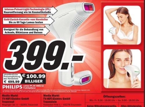 [ MM Traunstein ]  Philips SC2003/11 Lumea Precison Plus IPL Haarentfernungssystem inkl. Gesichtsaufsatz / größerer Körperaufsatz / weiß /  Testen Sie ohne Risiko Philips Lumea mit Geld zurück Garantie