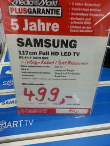 [MM Mannheim/Sandhofen] Samsung UE 46 F 5370 116 cm (46 Zoll) LED-Backlight-Fernseher, EEK A+ (Full HD, 100Hz CMR, DVB-T/C/S2, CI+, Smart TV, HbbTV) schwarz