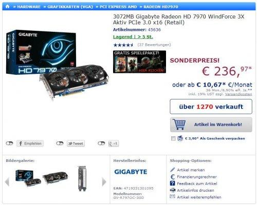 Gigabyte Radeon HD 7970 WindForce 3X im Mindstar ab 245,96 Euro