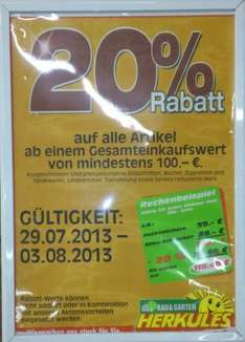 [lokal Vellmar/Kassel] 20% auf Alles im Bau & Garten Herkules Markt