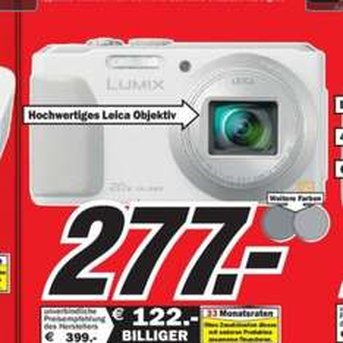 [LOKAL MM NEUBRANDENBURG] Panasonic DMC-TZ41 Digitalkamera (18,1 Megapixel, 20-fach opt. Zoom, 7,5 cm (3 Zoll) Touchscreen, 5-Achsen bildstabilisator) weiss