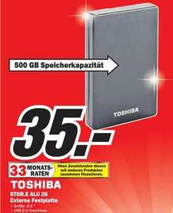 500GB Toshiba StorE Alu 2S 2.5 Zoll USB 3.0 im Mediamarkt Bremen Waterfront für 35 Euro