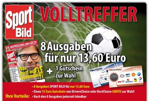 8 Ausgaben Sport Bild mit 15 Euro Gutschein (BestChoice o.ä.) für 13,60 EUR