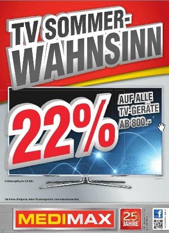 [Evtl. lokal West] 22% auf alle TV-Geräte ab 800€ bei MediMax