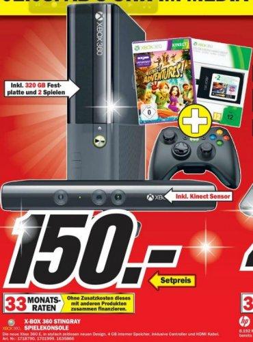 [lokal MM Stuttgart] Xbox 360 + Kinect + 320 GB + 2 Spiele = 150 €