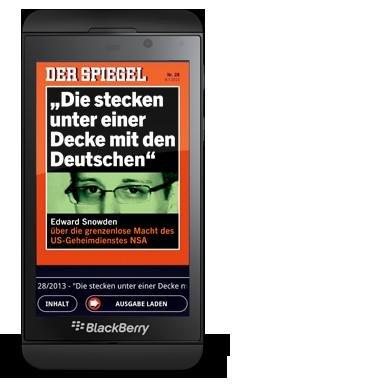 DER SPIEGEL digital mit BlackBerry Z10
