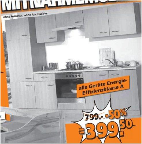Globus Baumarkt  - Küchenblock mit E-Geräten (EEK A) für 399.50€ statt 799€  - und weiteres