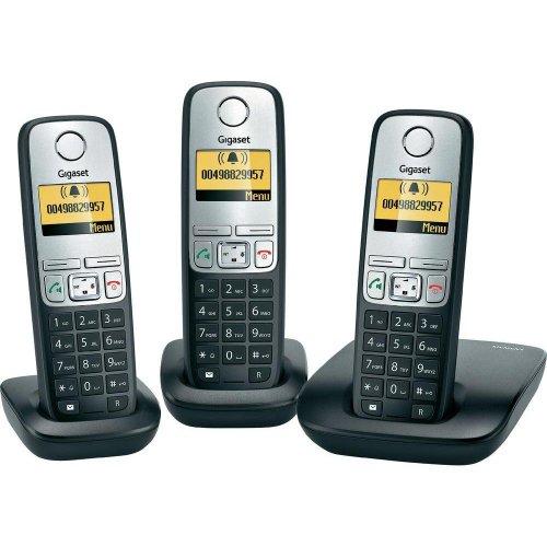 Gigaset A400 Trio schnurloses analog Telefon (beleuchtetes Display, Schwarz) 61€