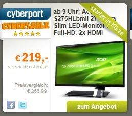 "Acer S275HLbmii 68,6 cm (27 Zoll) IPS Ultra Slim Zeroframe Design Monitor @Cyberport ""CyberSale"" ab 09.00 Uhr"