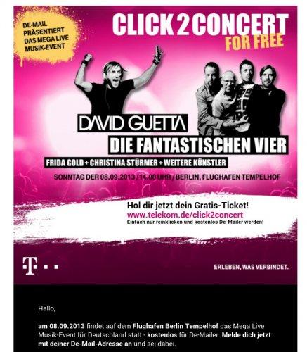 De-Mail: Kostenlos zum Konzert mit David Guetta, Die Fantastischen Vier etc. am 08.09. in Berlin